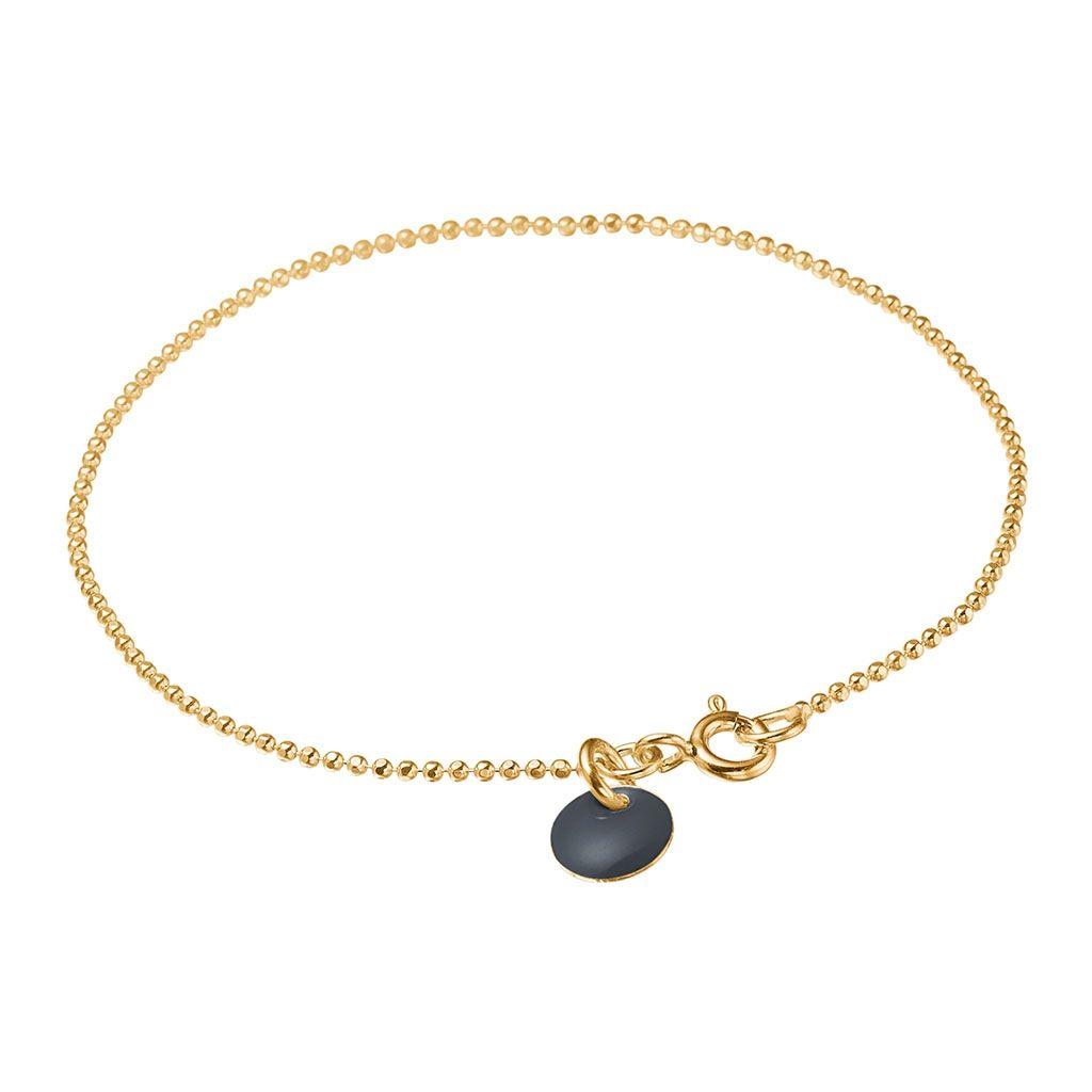 Image of   Dark Grey Ball Chain Forgyldt Sølv Armbånd fra Enamel