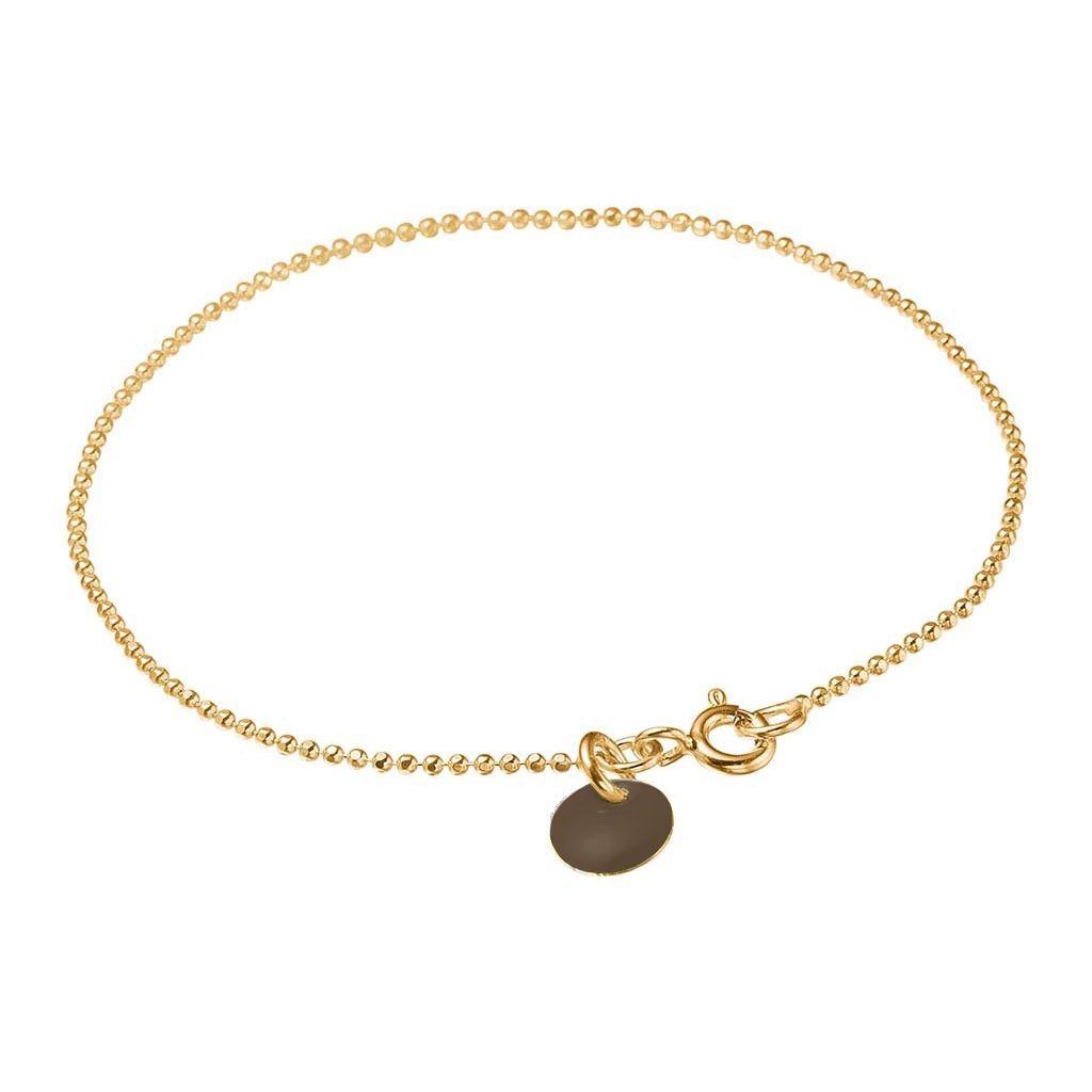 Image of   Brown Ball Chain Forgyldt Sølv Armbånd fra Enamel