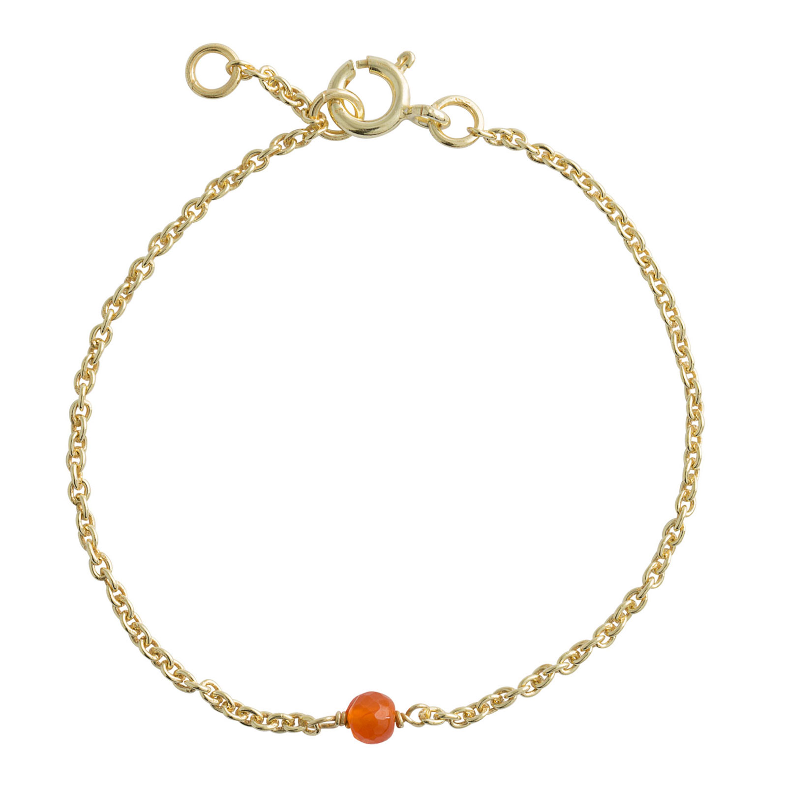 Image of   Lene Visholm Forgyldt Sølv Armbånd med Orange Calcedon