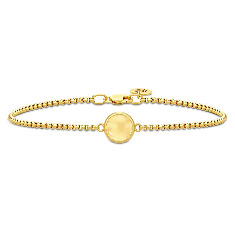 Julie Sandlau Prime Armbånd i Forgyldt Sølv med Citrinfarvet Krystal