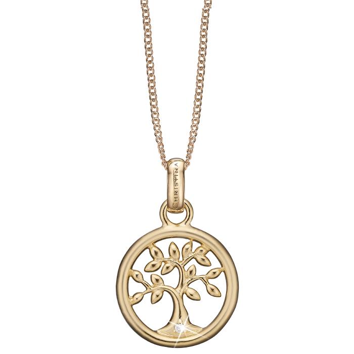 Christina Watches Tree Of Life Vedhæng i Forgyldt Sølv med Laboratoriefremstillet Diamant