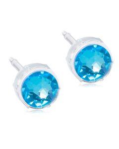 Shiny Blue Medicinsk Plastik Ørestikker fra Blomdahl med Krystalsten
