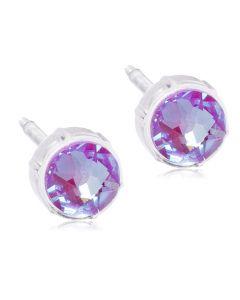 Shiny Violet Medicinsk Plastik Ørestikker fra Blomdahl med Krystalsten