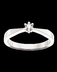 Scrouples Victoria Ring i 8 Karat Hvidguld med Brillant 0,05 Carat TW/SI