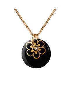 Flora Black Gold Forgyldt Sølv Halskæde fra Scherning