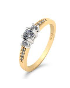 Smykkekæden Josephine Ring i 14 Karat Guld med Hvidguld og Diamanter 0,19 Carat W/SI