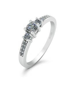 Josephine 14 Karat Hvidguld Ring fra Smykkekæden med Brillanter 0,19 Carat W/SI