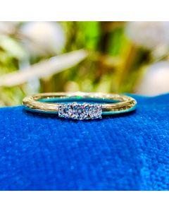 Smykkekæden 8 Karat Guld Ring med Hvidguld
