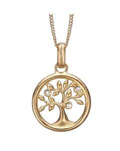 Tree Of Life Forgyldt Sølv Vedhæng fra Christina Watches med Topaser