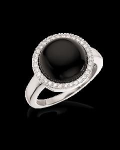 Scrouples Rhodineret Sølv Ring med Onyx 725542