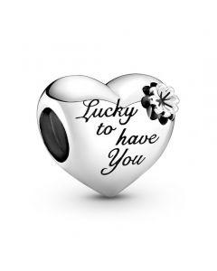 Pandora Clover & Heart Sterling Sølv Charm 799364C00