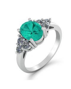 Smykkekæden 14 Karat Hvidguld Ring med Smaragd og Brillanter 0,16 Carat TW/SI
