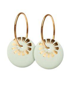 Bloom Pistachio Gold Stor Forgyldt Sølv Øreringe fra Scherning med Porcelæn