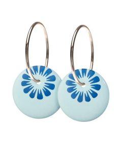 Scherning Bloom Cloud Blue Øreringe i Sterling Sølv med Porcelæn