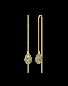 Eve Droplet Forgyldt Sølv Øreringe fra Julie Sandlau med Olivenfarvede Krystaller