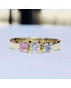 Nuran New Copenhagen 14 Karat Guld Ring med Blå Og Lyserød Safir og Brillant 0,16 Carat W/SI