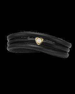 Christina Watches Tyndt Kræftens Bekæmpelse Læder Charm med Forgyldt Sølvcharm Og Laboratorieskabt Diamant
