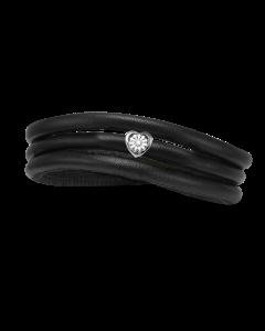 Tyndt Kræftens Bekæmpelse Læder Charm fra Christina Watches med Sølvcharm Og Laboratorieskabt Diamant