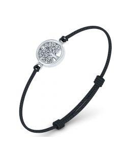 Smykkekæden Livets Træ Læder Armbånd med Sølvvedhæng