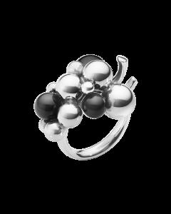 Moonlight Grapes Mellem Sterling Sølv Ring fra Georg Jensen med Sort Onyx