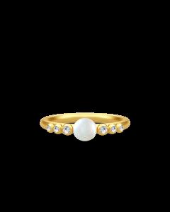 Julie Sandlau Perla Forgyldt Sølv Ring med Hvid Ferskvandsperle