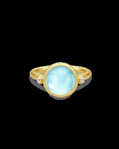 Prime Forgyldt Sølv Ring fra Julie Sandlau med Blå Krystal