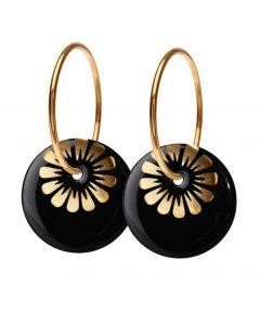 Bloom Stor Creol Forgyldt Sølv Øreringe fra Scherning med Black Gold Porcelæn