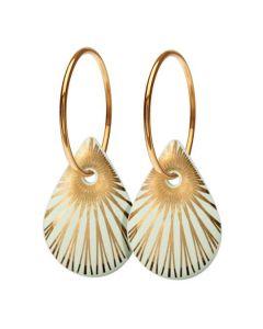 Splash Teardrop Pistachio Gold Forgyldt Sølv Øreringe fra Scherning med Porcelæn