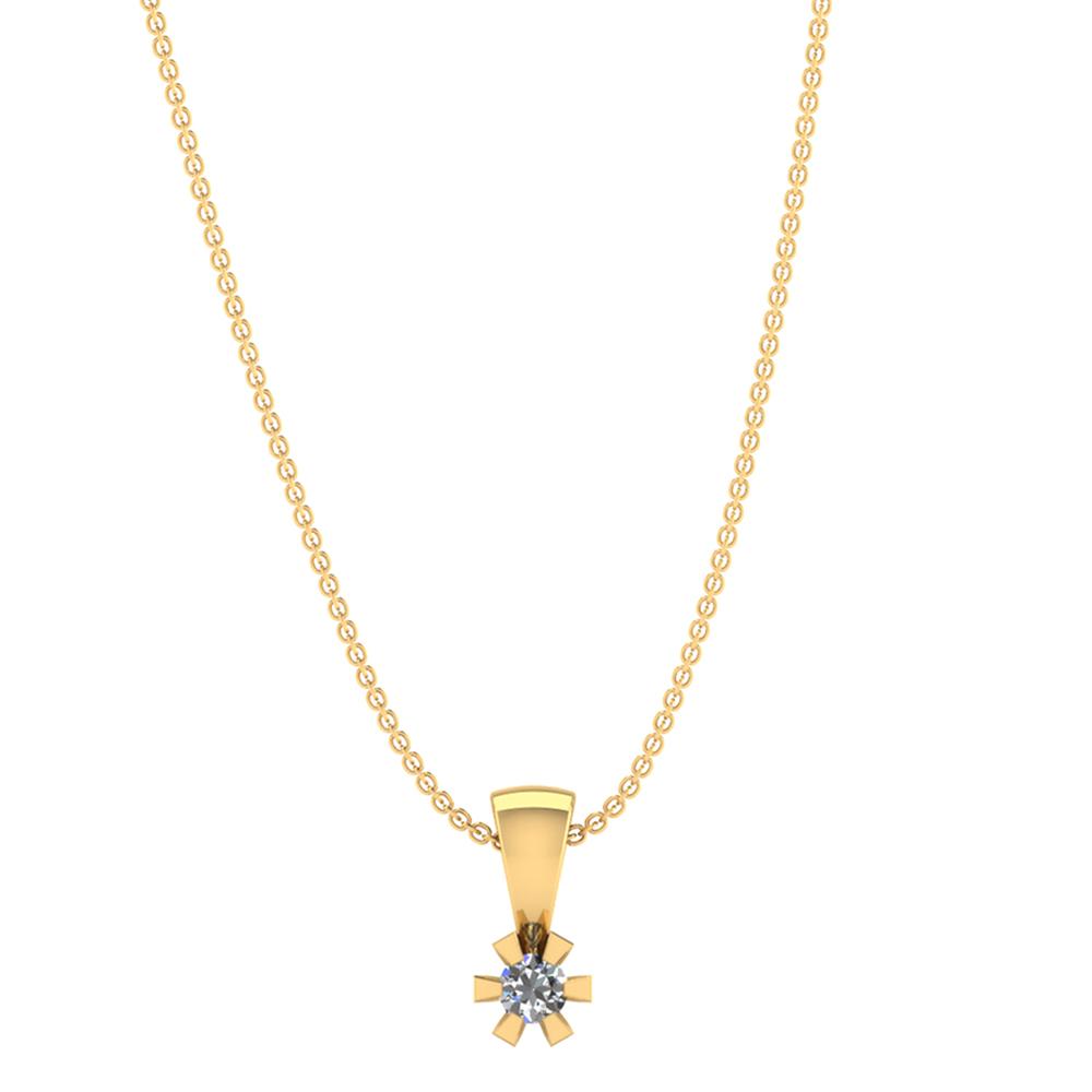 Image of   Smykkekæden 14 Karat Guld Vedhæng med Diamant
