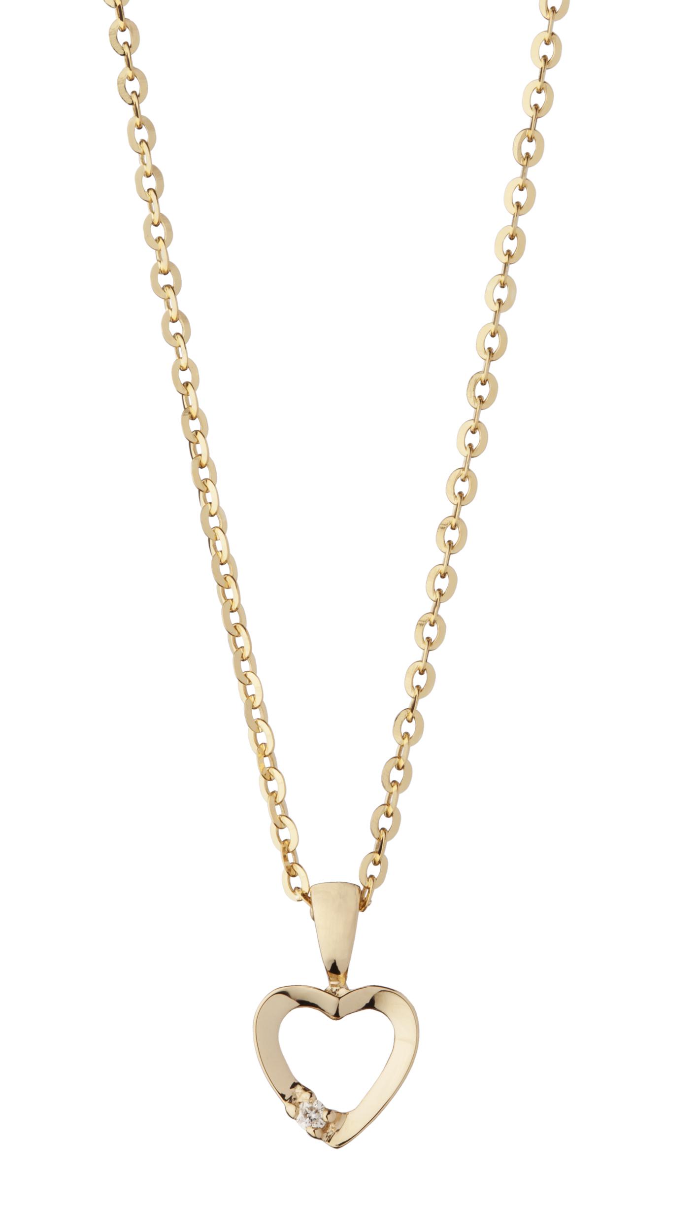 Image of   8 Karat Guldhjerte med Diamant