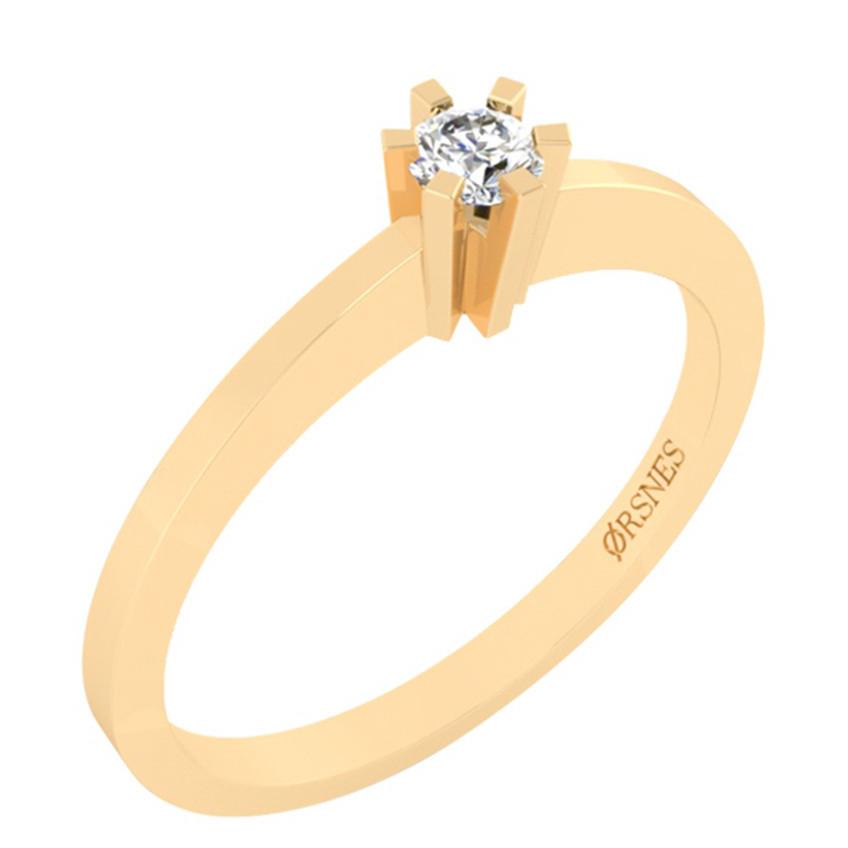 Smykkekæden Ring i 14 Karat Guld med Diamant DMN0272YG