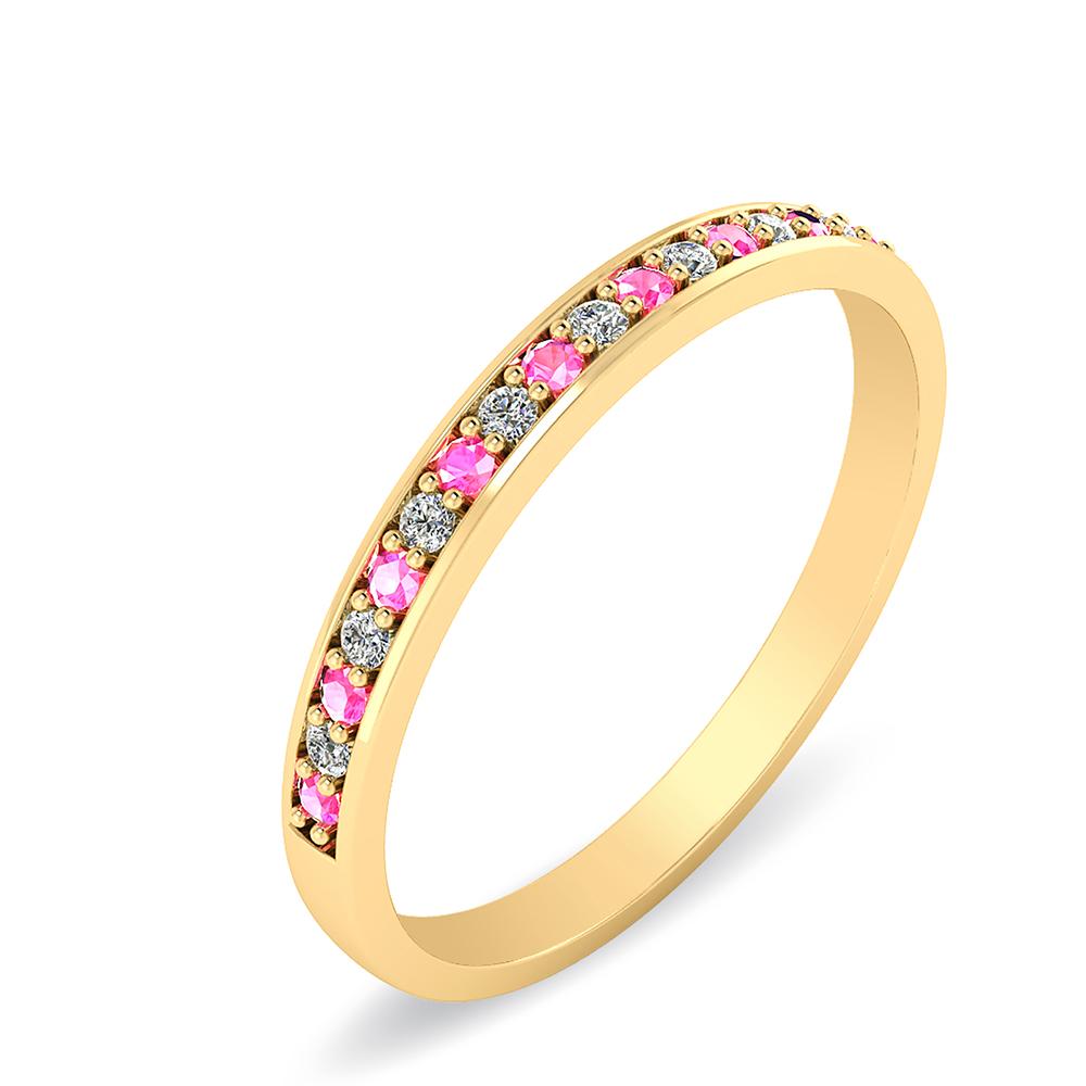 Smykkekæden Garder 14 Karat Guld Ring med Pink Safir og Diamanter 0,08 Carat W/SI