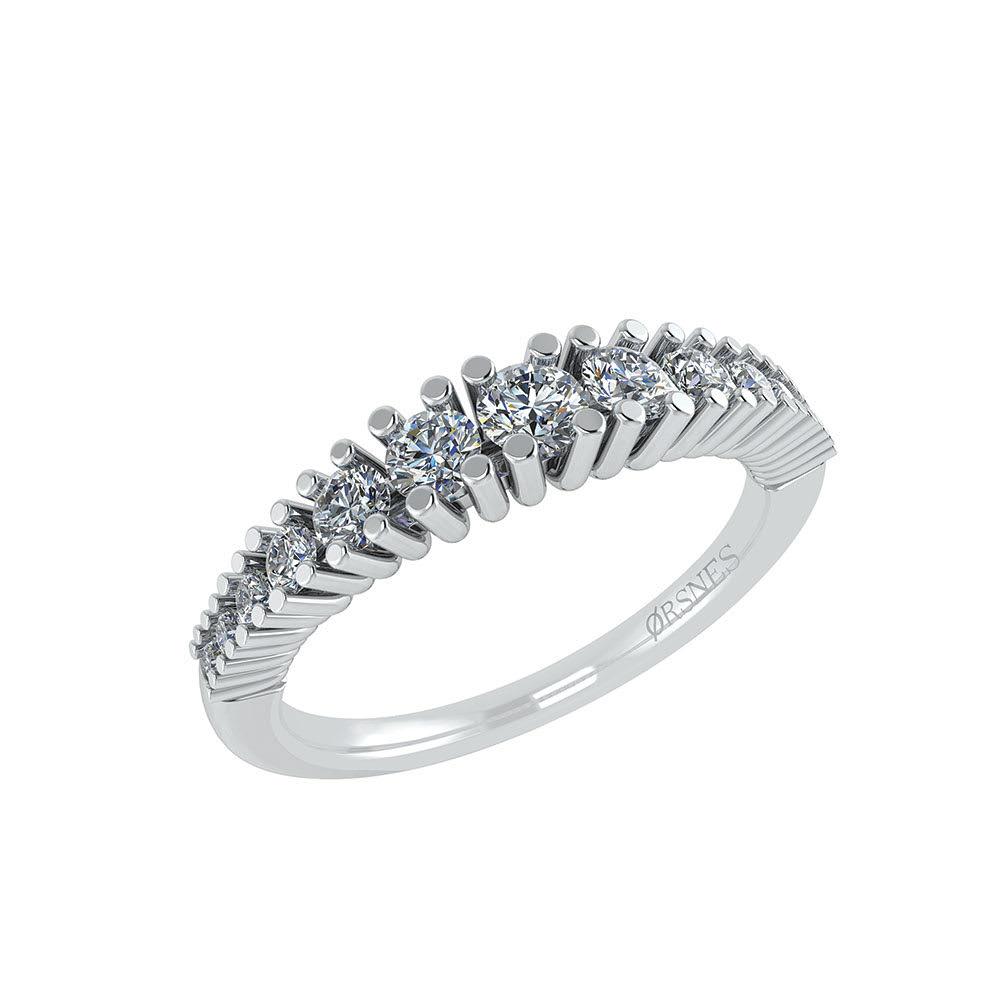 Image of   14 Karat Hvidguld Ring fra Henrik med Diamanter 0,32 Carat TW/SI