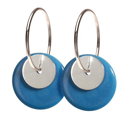 Duo Blue Silver Creol Sterling Sølv Øreringe fra Scherning med Porcelæn