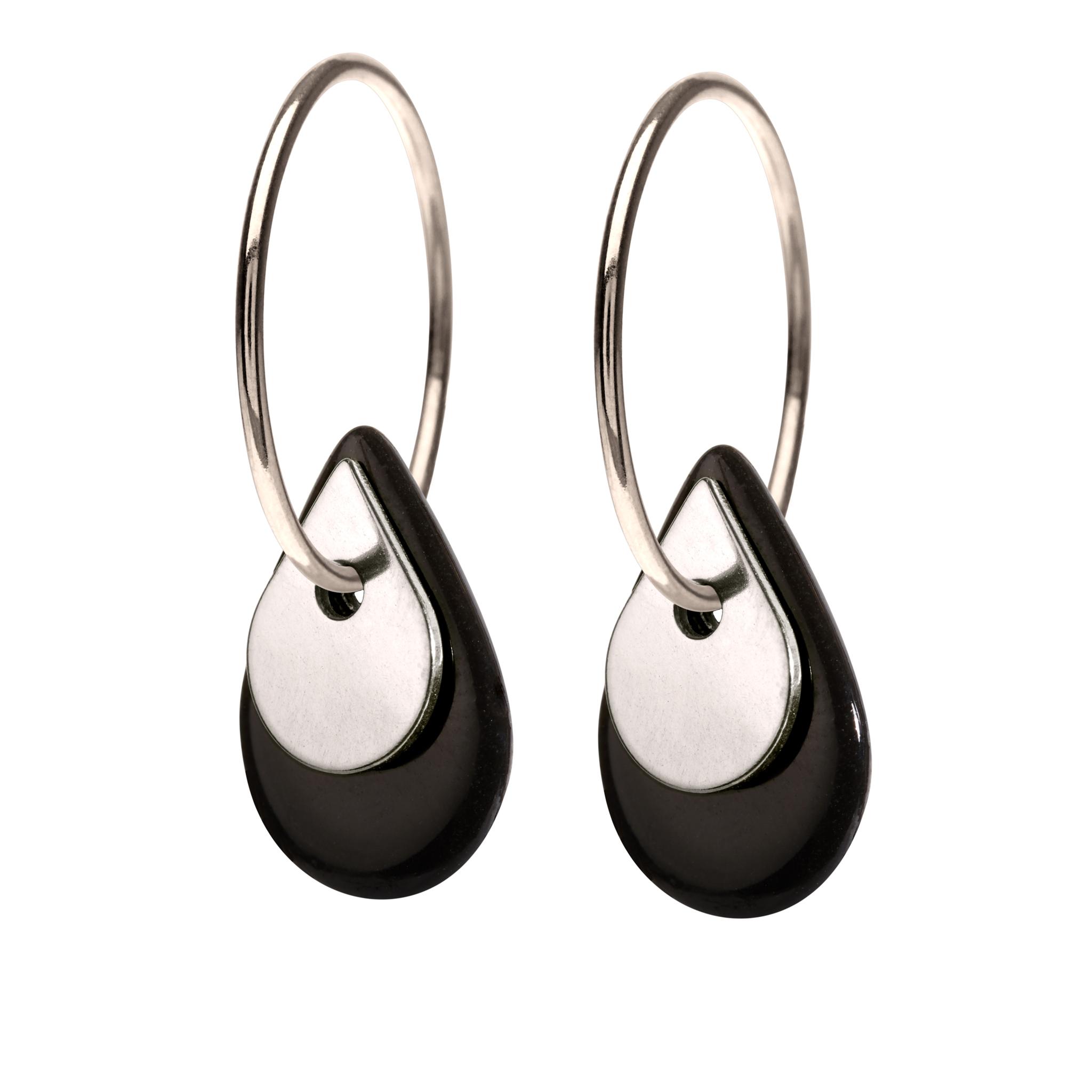 Duo Black Sterling Sølv Øreringe fra Scherning med Porcelæn