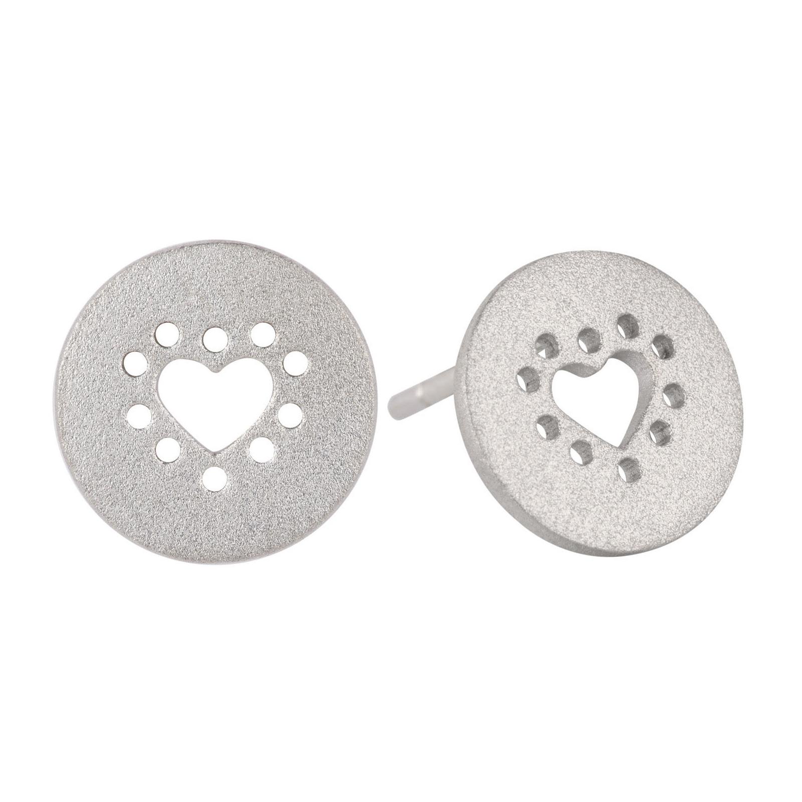 Hjerte Sølv Ørestikker fra Lene Visholm E.1221RH