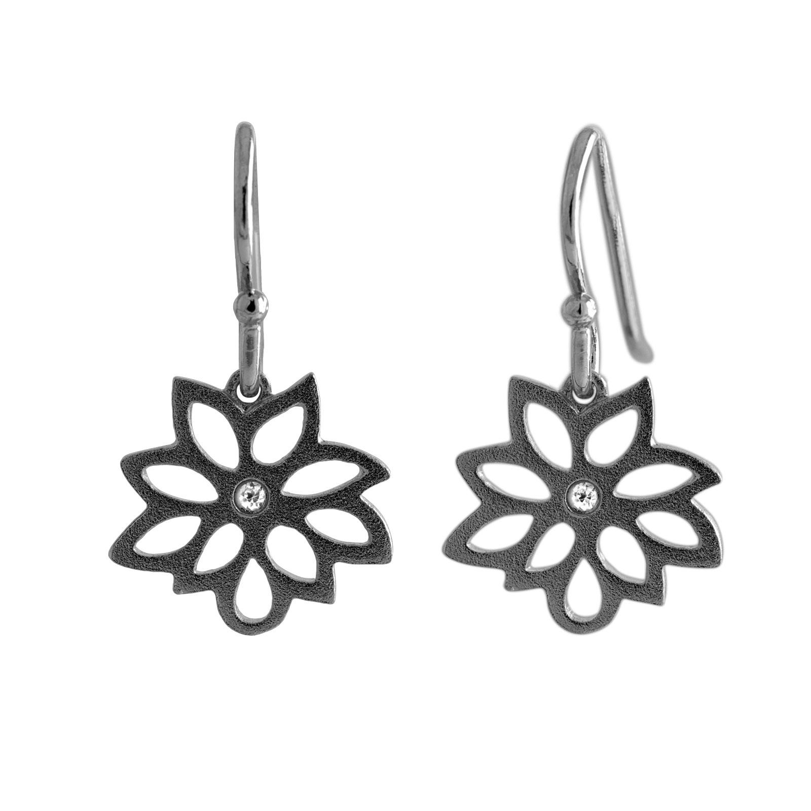 Sort Blomst Sølv Øreringe E.1273SRH