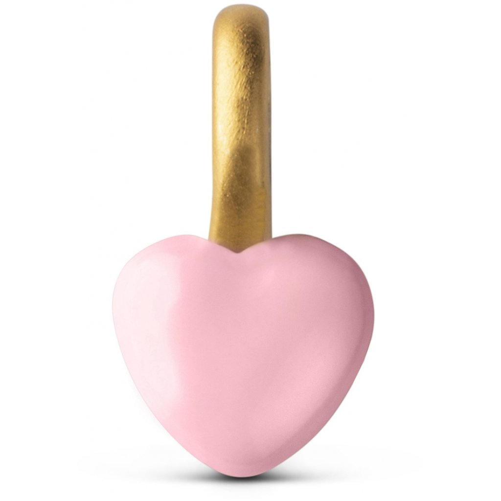 Enamel Heart Rosaforgyldt Sølv Charm med Rosa Emalje
