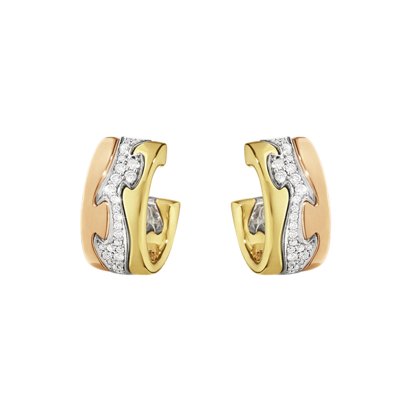 Georg Jensen Fusion Øreringe i 18 Karat Guld med Diamanter