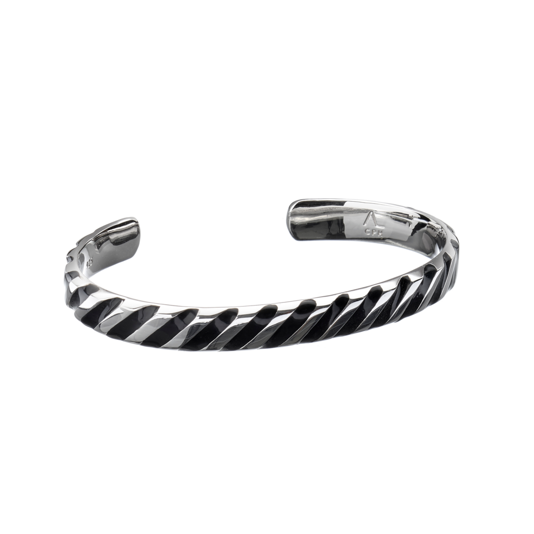 Image of   ALEXANDER LYNGGAARD HOPE STRIPED ARMRING SORT RH