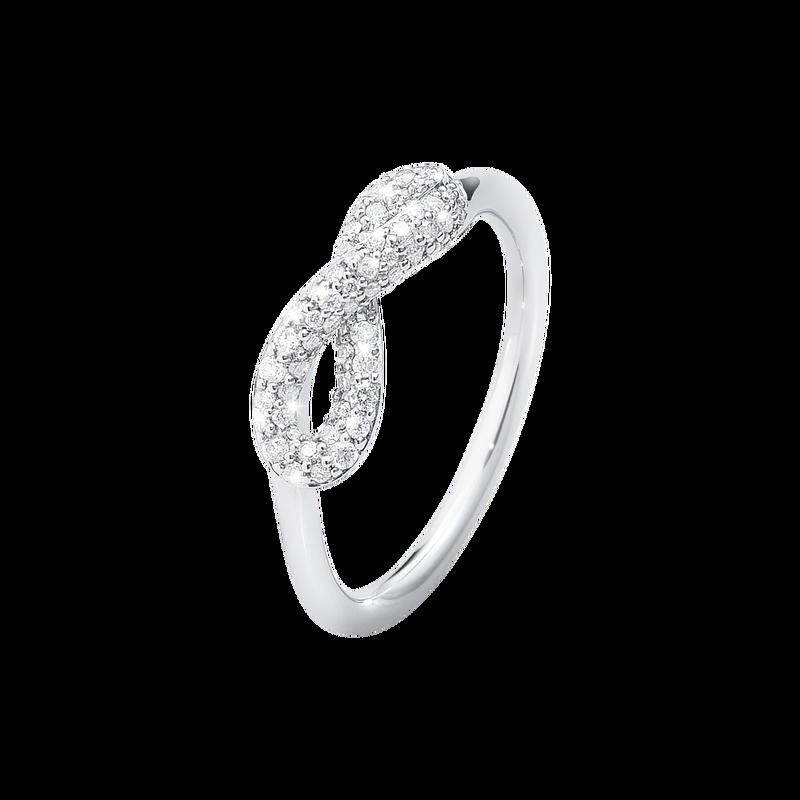 Georg Jensen Str. 55 Infinity Sterling Sølv Ring med Diamanter 0,25 Carat TW/VS