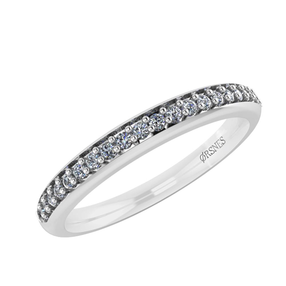 Smykkekæden 14 Karat Hvidguld Ring med Diamanter DMN0310W