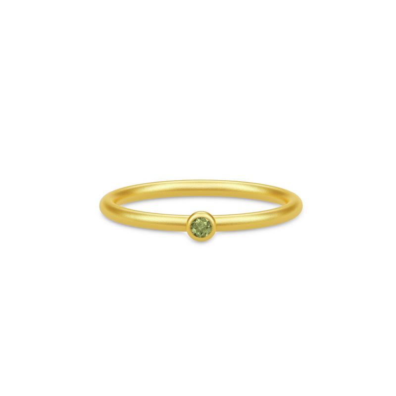 Julie Sandlau Finesse Forgyldt Sølv Ring med Grøn Turmalin