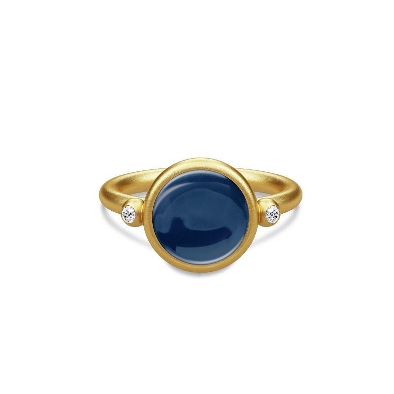 Julie Sandlau Prime Forgyldt Sølv Ring med Safirblå Krystal