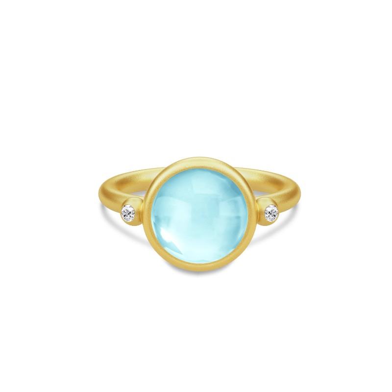 Julie Sandlau Prime Ring Forgyldt Sølv Ring med Lyseblå Krystal