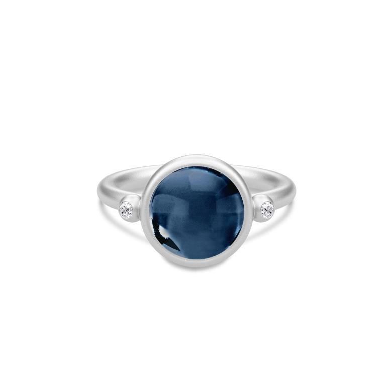 Julie Sandlau Prime Ring i Sterling Sølv med Safirblå Krystal
