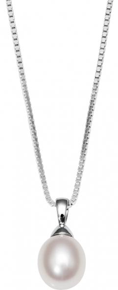 Image of   8 Karat Hvidguld Vedhæng fra Smykkekæden med Perle 40-00001-2935