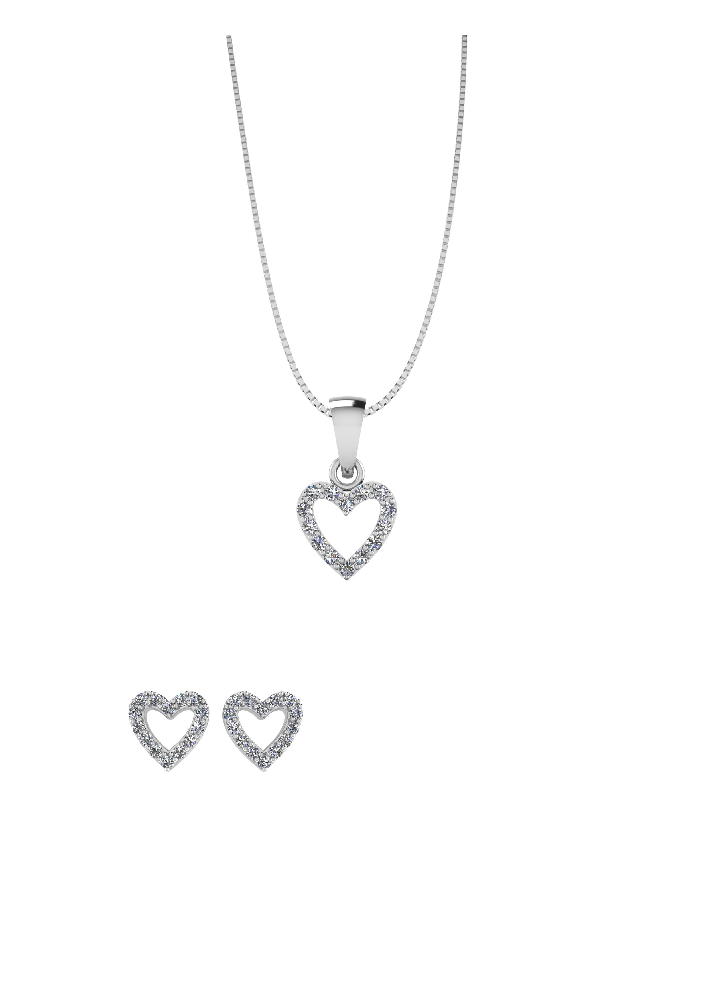 Image of   Smykkekæden Smykkesæt Hjerte i Sølv med Zirkonia-sten