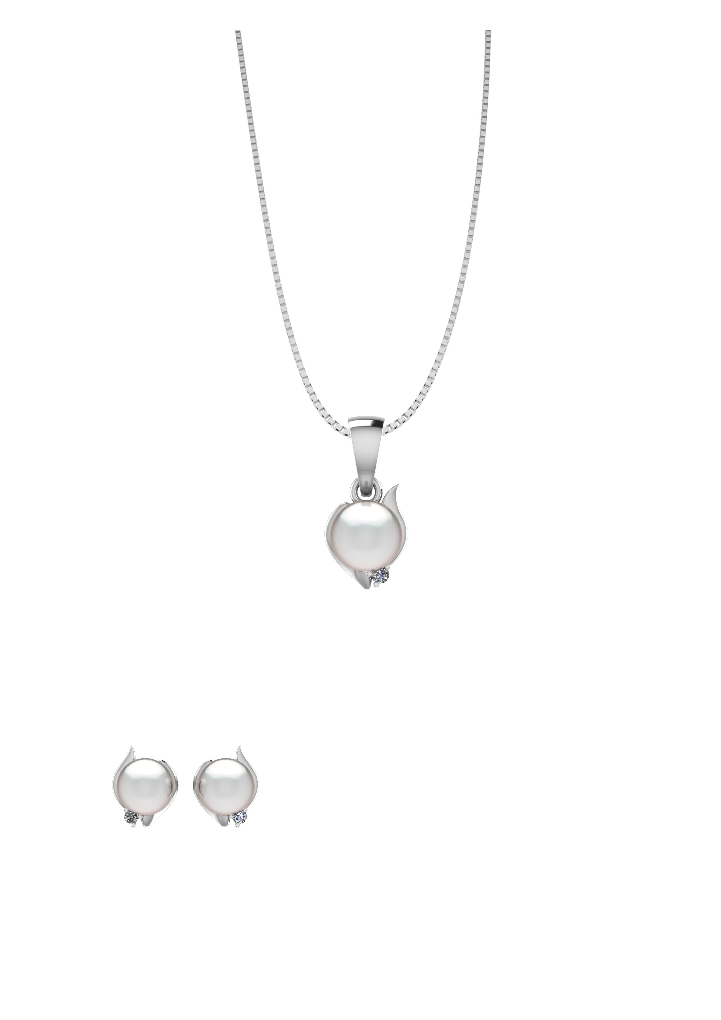 Image of   Smykkekæden Sterling Sølv Smykkesæt med Perle SÆT592