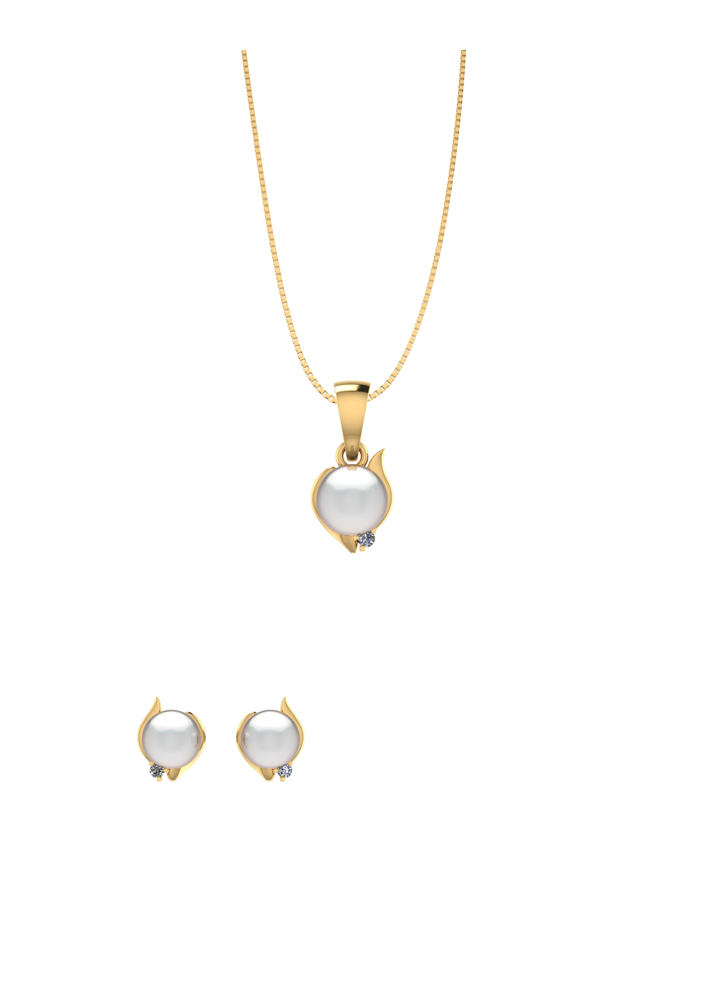 Image of   Smykkekæden Forgyldt Sølv Smykkesæt med Perle SÆT593
